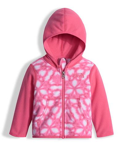 Glacier Shibori-Print Hooded Micro-Fleece Jacket, Pink, Size 3-24 Months