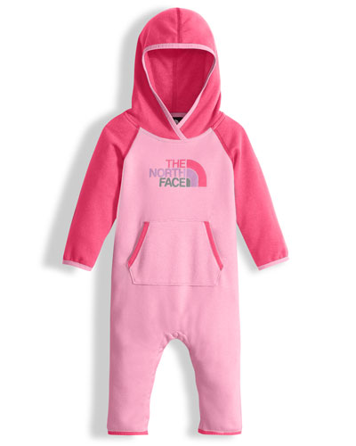 Hooded Fleece Colorblock Logo-Wear Coverall, Pink, Size 3-24 Months