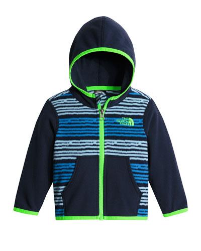 Glacier Digital Stripe Hooded Micro-Fleece Jacket, Blue, Size 3-24 Months