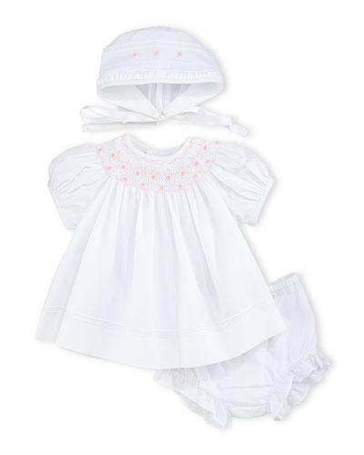 Smocked Bishop Dress Set, White, Size 0-9 Months