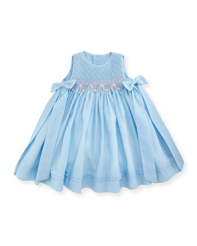 Sleeveless Floral-Trim Smocked Dress w/ Bows, Blue, Size 12-24 Months