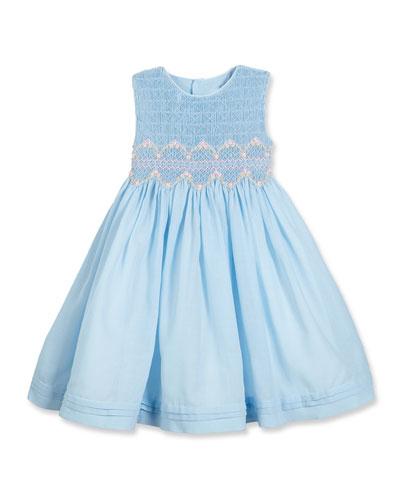 Sleeveless Floral-Trim Smocked Dress, Blue, Size 7-10