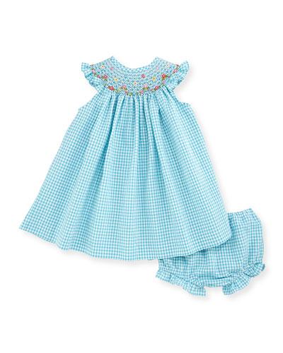 Sleeveless Gingham Seersucker Bishop Dress w/ Bloomers, Turquoise, Size 3-24 Months