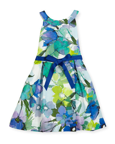 Sleeveless Floral Pleated Dress, Blue, Size 7-14