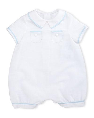 Linen-Blend Bubble Playsuit, White, Size 3-24 Months