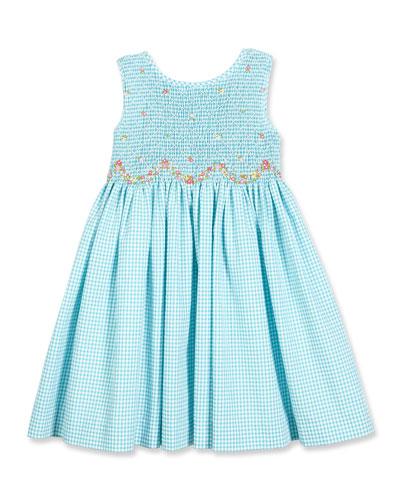 Sleeveless Gingham Seersucker Sundress, Turquoise, Size 7-10