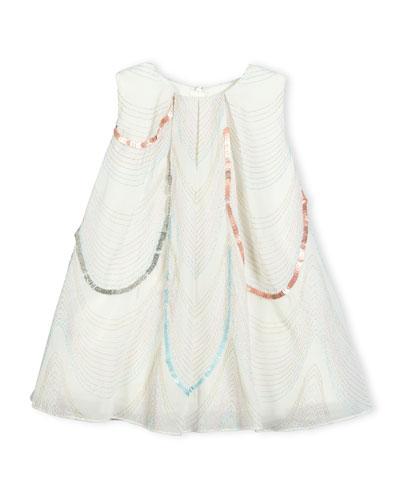 Sleeveless Scalloped Organza Swing Dress, White, Size 2-3