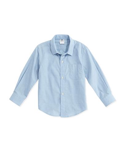 Boys' Poplin Button-Down Shirt, Blue, 2T-14