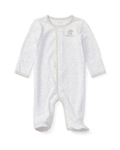 ab4a8d9b399 Bear Embroidery Stripe Interlock Footie Pajamas