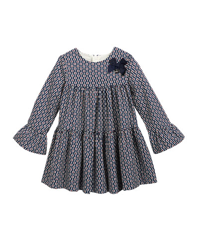 Long-Sleeve Circle Tiered Cotton Dress, Size 6-24 Months