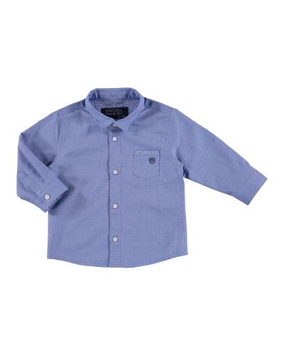 Long-Sleeve Mini Gingham Poplin Shirt, Blue, Size 3-24 Months