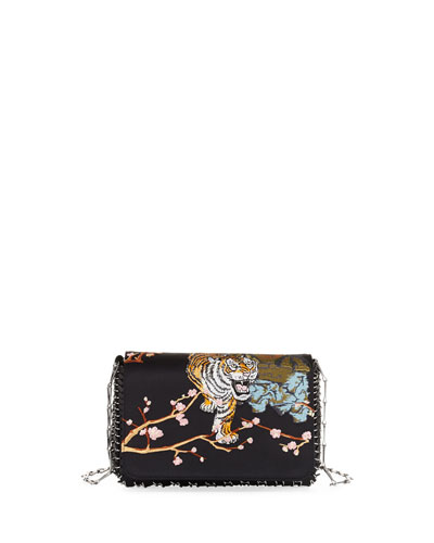 Small Tiger-Embroidered Satin Shoulder Bag
