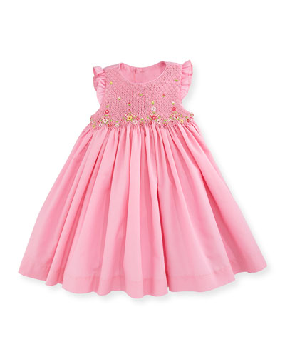 Sleeveless Floral-Trim Smocked Dress, Pink, Size 12-24 Months