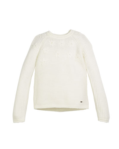 Flower-Knit Pullover Sweater, Size 3-7