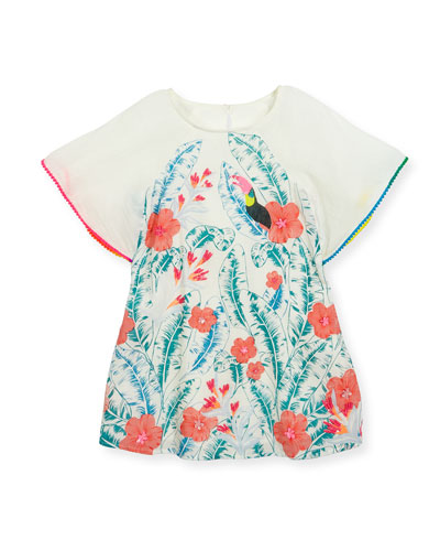 Cape-Sleeve Cotton Leaf-Print Dress, Multicolor, Size 4-8