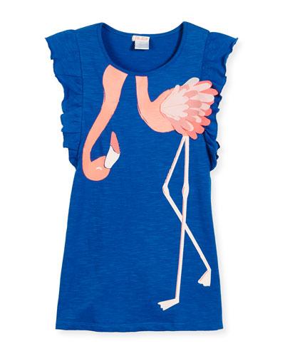 Slub Jersey Flamingo Dress, Blue, Size 4-8