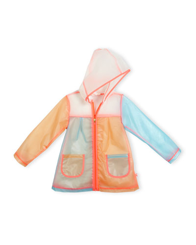Hooded Colorblock Raincoat, Multicolor, Size 4-8