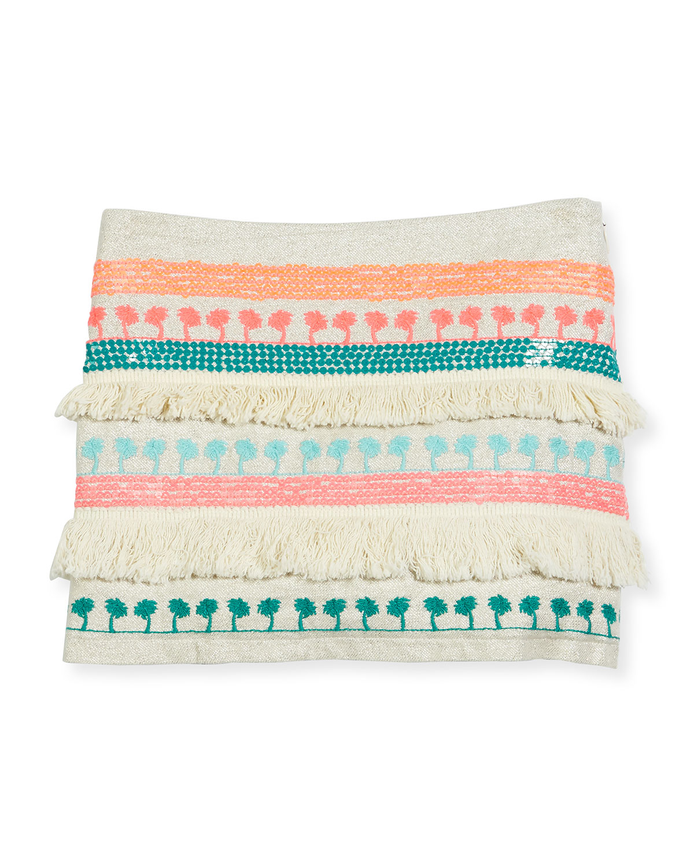 Embroidered Fringe-Trim Mini Skirt, Multicolor, Size 4-8