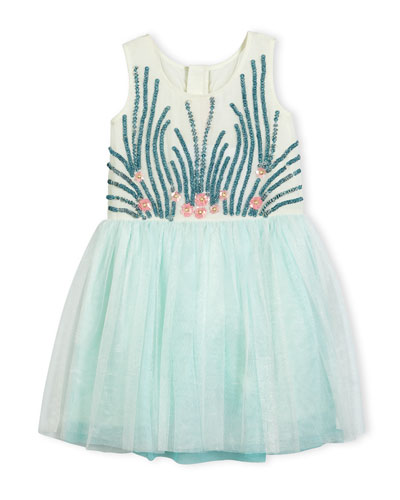 Under the Sea Jersey & Tulle Dress, Blue/White, Size 4-8