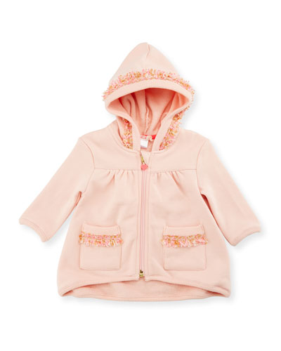 Hooded Fringe Zip-Front Sweatshirt, Rose, Size 2-3