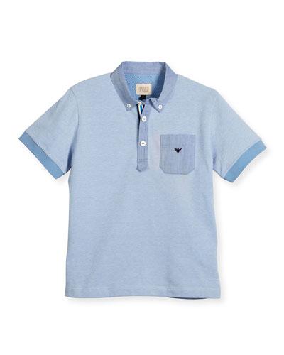 Short-Sleeve Pique Polo Shirt, Turquoise, Size 4-12