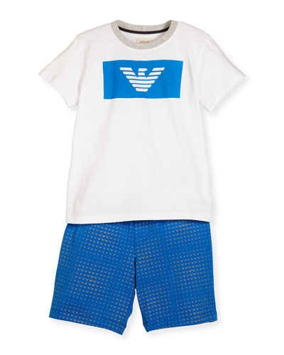 Crewneck Jersey Tee w/ Printed Shorts, Multicolor, Size 4-12