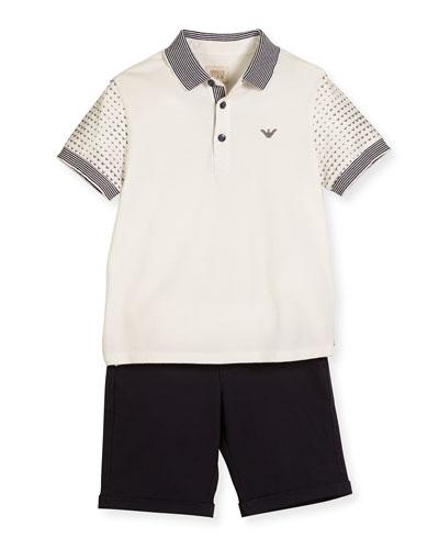 Printed-Sleeve Polo Shirt w/ Shorts, White, Size 4-12