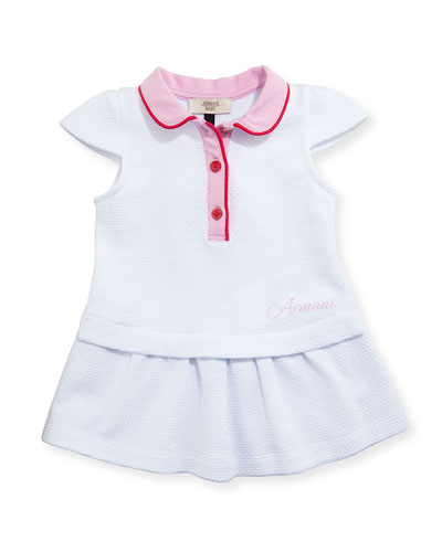 Cap-Sleeve Colorblock Stretch Pique Dress, White, Size 6-24 Months