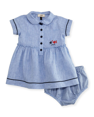 Short-Sleeve Smocked Linen Dress w/ Bloomers, Blue, Size 6-24 Months