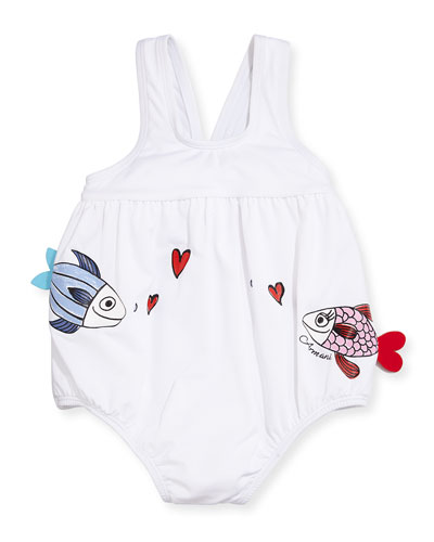 Kissing Fish One-Piece Swimsuit, White, Size 6-24 Months
