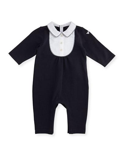 Long-Sleeve Jersey & Poplin Coverall, Blue, Size 3-12 Months