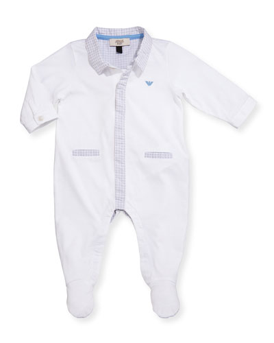 Long-Sleeve Footed Poplin Coverall, Gray/White, Size 3-12 Months