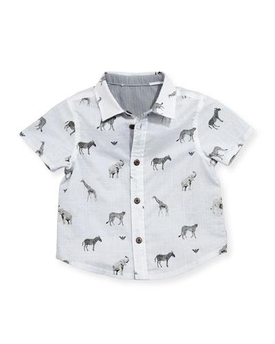Short-Sleeve Reversible Animal-Print Shirt, Multicolor, Size 6-24 Months