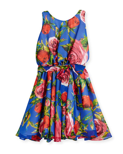 Sleeveless Floral Georgette Circle Dress, Royal, Size 7-14