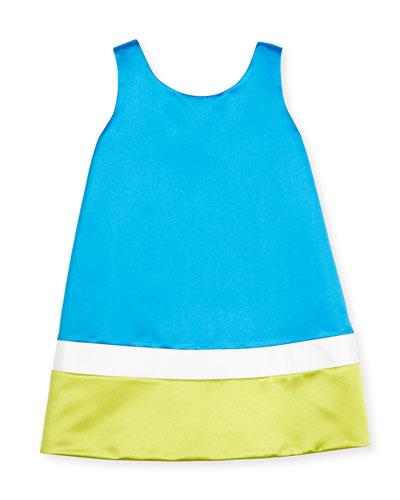 Sleeveless Satin Colorblock Shift Dress, Royal, Size 7-14