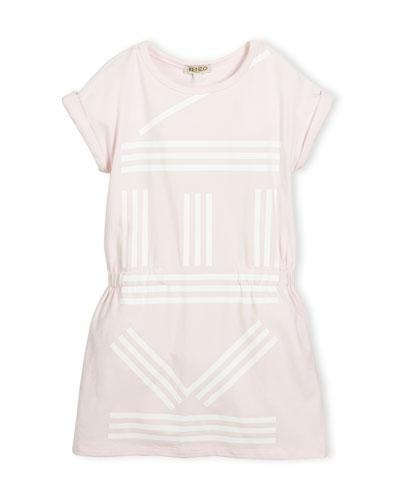 Cap-Sleeve Stretch Jersey Logo Dress, Pink, Size 14-16