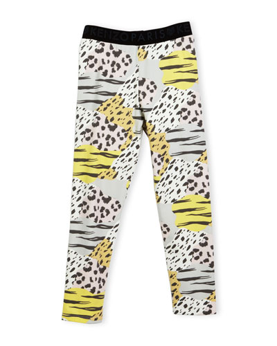 Bess Animal-Print Stretch Jersey Leggings, Pink/Multicolor, Size 8-12