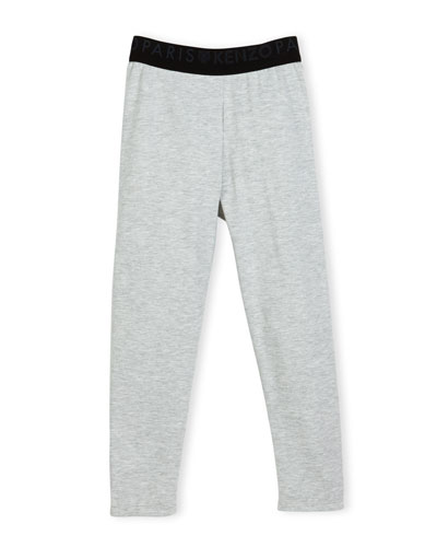 Blanca Melange Stretch Jersey Logo Leggings, Gray, Size 8-12
