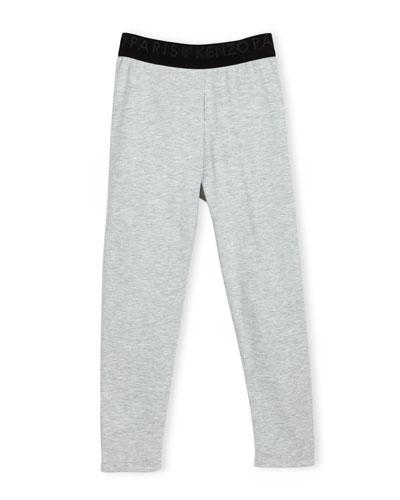 Blanca Melange Stretch Jersey Logo Leggings, Gray, Size 14-16