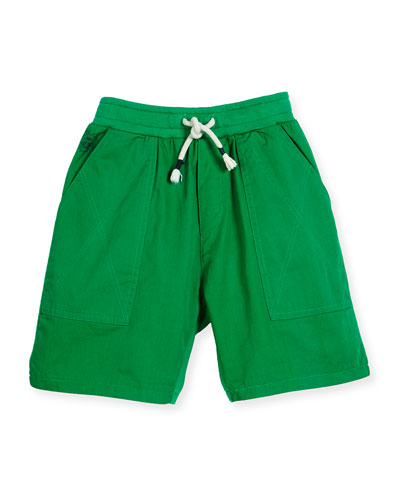 Blake Twill & Terry Shorts, Light Green, Size 2-6