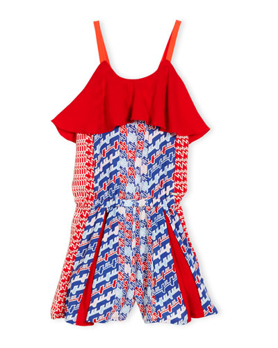 Banana Sleeveless Abstract Romper, Red, Size 4-6