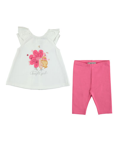 Sleeveless Bright Girl Tee w/ Leggings, Pink/White, Size 6-24 Months