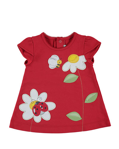 Short-Sleeve Stretch Jersey Daisy Dress, Red, Size 3-24 Months