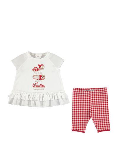 Shoe-Print Top w/Gingham Leggings, Red, Toddler