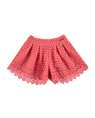 Pleated Lace Shorts, Apricot, Size 3-7