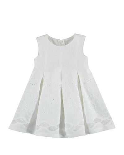 Sleeveless Eyelet Embroidered Pleated Dress, Neutral, Size 3-7
