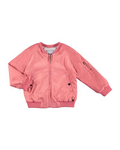 Stretch Satin Check Bomber Jacket, Pink, Size 3-7