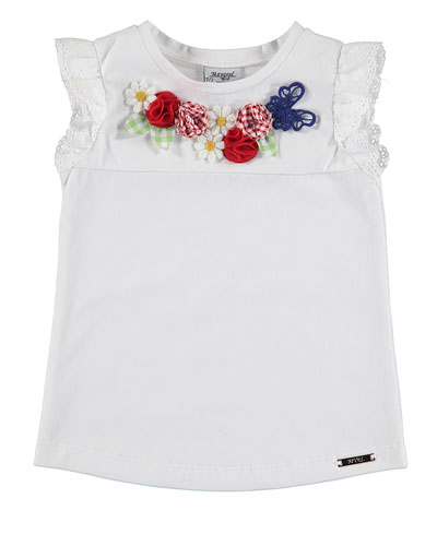 Sleeveless Floral Stretch Jersey Tee, White, Size 3-7