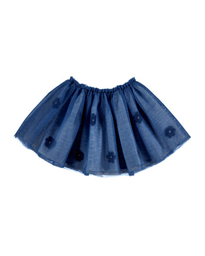 Smocked Floral Tulle Skirt, Blue, Size 3-7