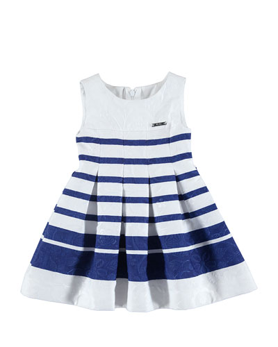 Sleeveless Pleated Striped Floral Jacquard Dress, Blue/White, Size 3-7